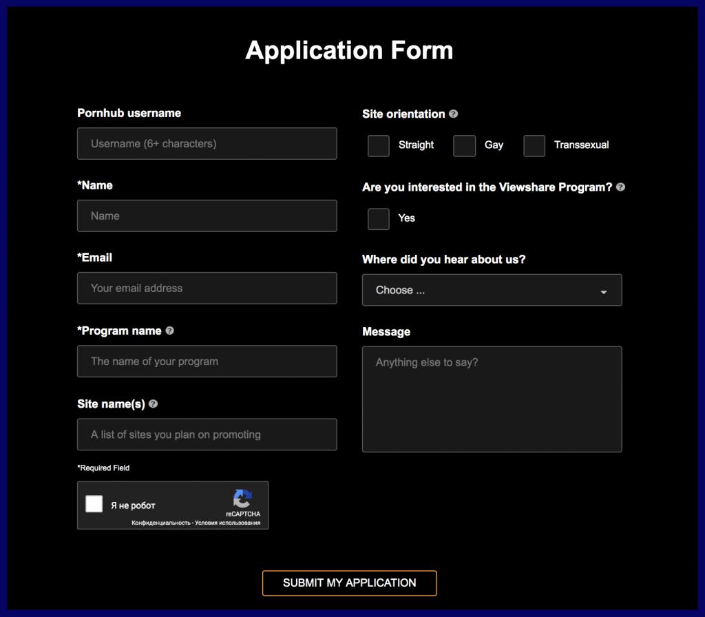 PornHub application form for traffic