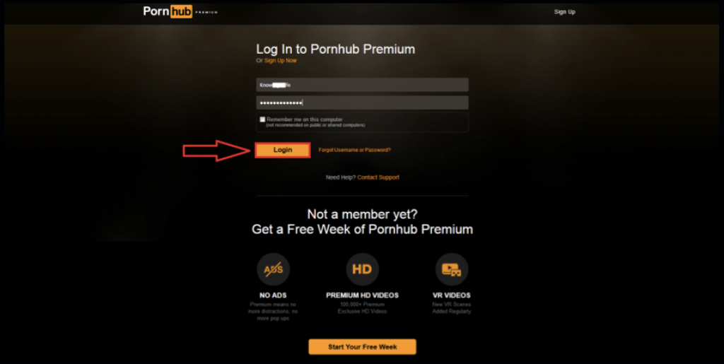 Login to Pornhub Premium account