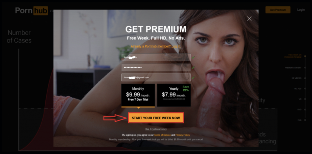 PornHub Premium Form Registration