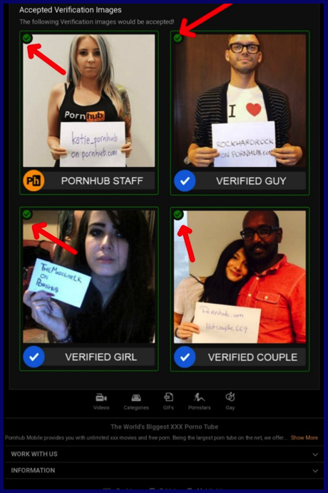 Pornhub accepted verification images
