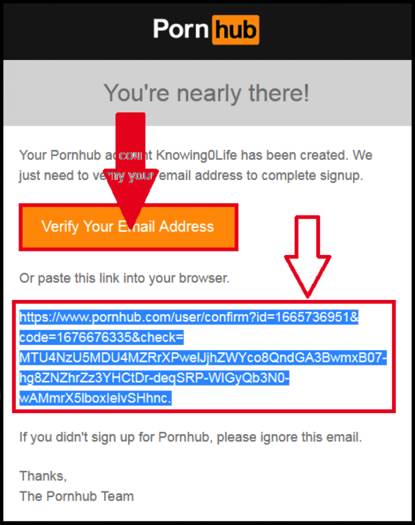 PornHub Premium verify email address