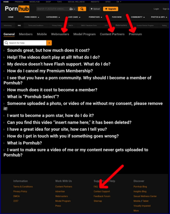 Pornhub contact the support about payment service
