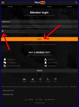 Pornhub member login