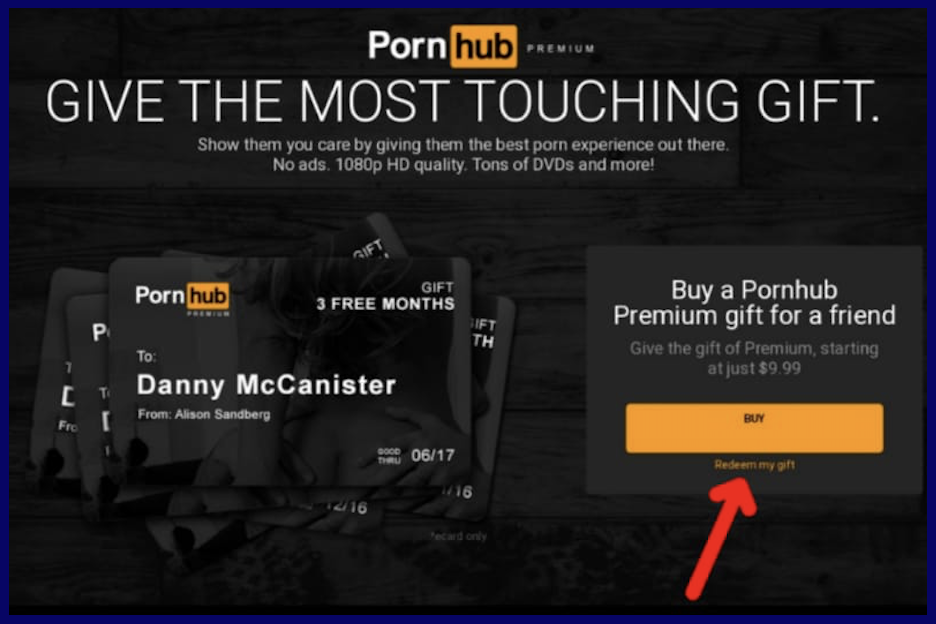 Activation of gift card from PornHubPremium
